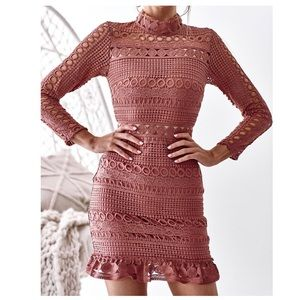 Born To Be Chic Pink Long Sleeve Lace Dress